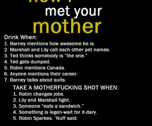 drinking, game, and how i met your mother image