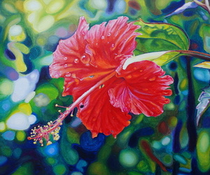 art, hibiscus, and paintings image