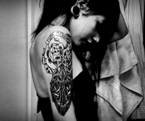 black and white, rose, and tattoo image