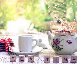 tea, biscuits, and cup image