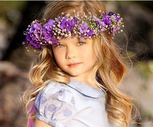 girl, flowers, and child image