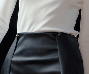 black and white, pencil skirt, and skirt image