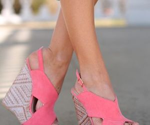 pink, shoes, and wedges image