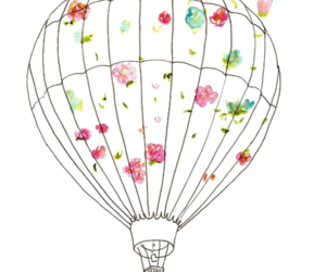 flowers, hot air balloon, and transparent image