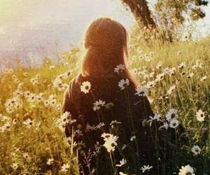 flowers, girl, and sun image