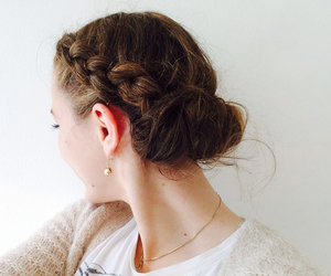 braid, brunette, and bun image