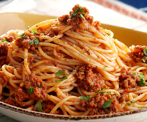 food, spaghetti, and delicious image