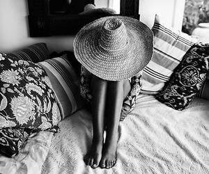 hat, summer, and black and white image