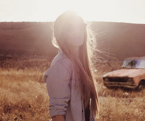 girl, sun, and car image