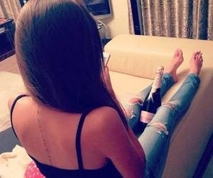 girl, jeans, and tattoo image
