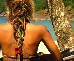 blonde, surfer girl, and braid image