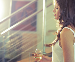 brunette, wine, and glass image