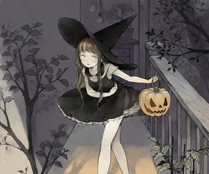 Halloween, anime, and witch image