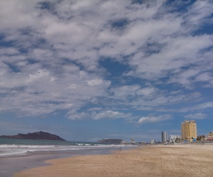 beach, city, and clouds image