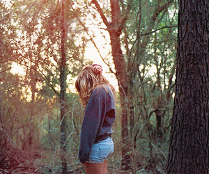 girl, forest, and shorts image