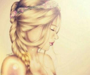 blonde, draw, and hair image