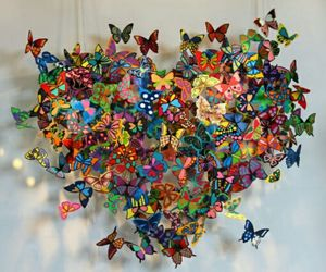 3d, butterflys, and heart image