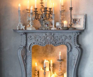 candle, fireplace, and light image