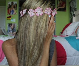 hair, tumblr, and flower crown image