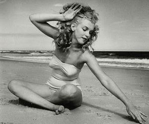 black and white, pretty, and Marilyn Monroe image