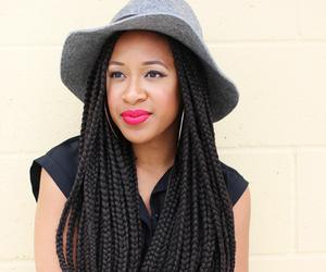 black woman, pretty, and red lipstick image