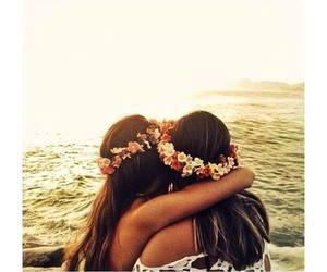 girls, beautiful, and flowers image
