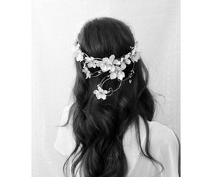 flowers, hair, and black and white image