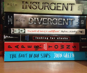 books, insurgent, and the fault in our stars image