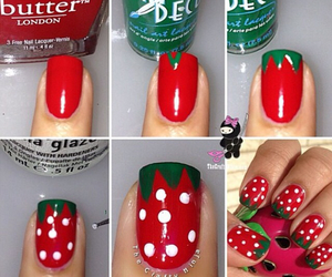 nails, strawberry, and diy image