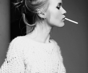 girl, smoke, and black and white image
