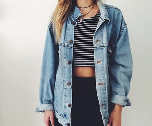 fashion, jean, and necklace image