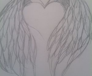 drawing, heart, and wings image