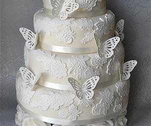 butterfly, cake, and white image
