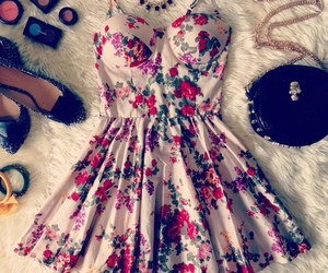 dress, flowers, and Hot image