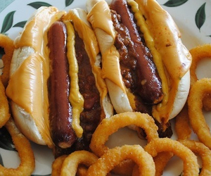 food, hot dog, and onion rings image