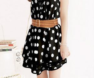 black, fashion, and polka dots image