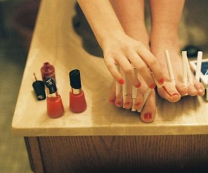 cigarette, red, and nail polish image