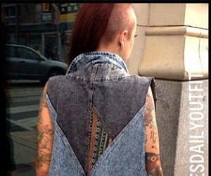 girl, tattoo, and shaven hair image