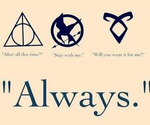 harry potter, always, and hunger games image