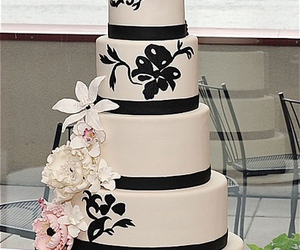 cake, black and white, and delicious image