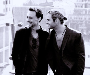 black and white, chris hemsworth, and tom hiddleston image