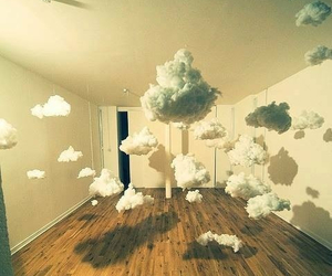 clouds, room, and art image