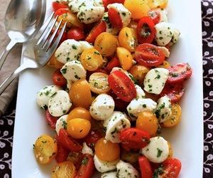 mozzarella, salad, and tomato image
