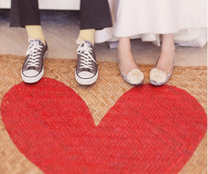 bride, groom, and shoes image