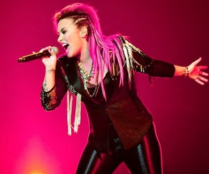 demi lovato, music, and pink hair image
