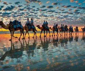 blue, camel, and sand image