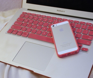 girly, macbook, and pink image