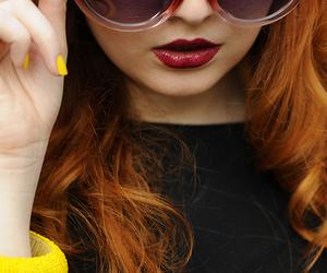 apple, sunglasses, and yellow image