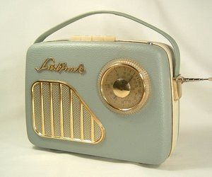 girl, old radio, and radio image