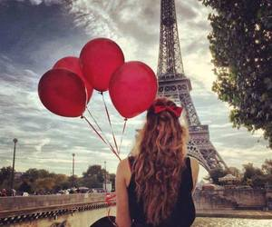 paris, girl, and balloons image
